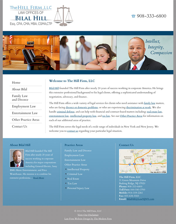 Law Firm Website Design for The Hill Firm, LLC