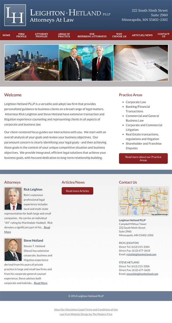 Law Firm Website Design for Leighton Hetland PLLP