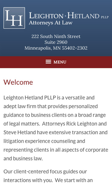 Responsive Mobile Attorney Website for Leighton Hetland PLLP