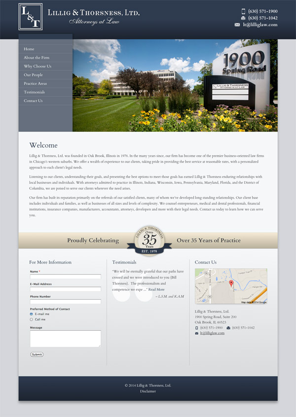 Law Firm Website Design for Lillig & Thorsness, Ltd.