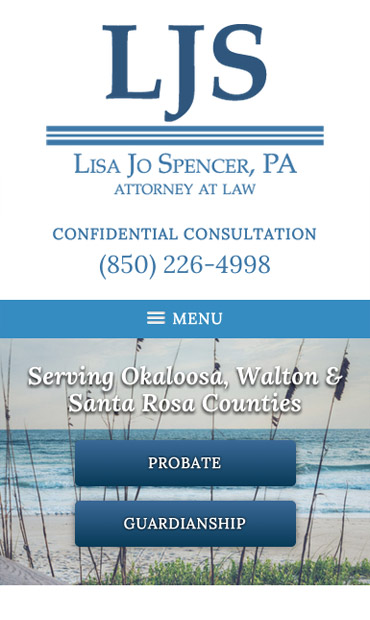 Responsive Mobile Attorney Website for Lisa Jo Spencer, P.A.