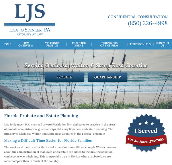 Mobile Friendly Law Firm Webiste for Lisa Jo Spencer, P.A.
