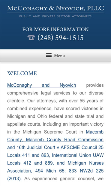 Responsive Mobile Attorney Website for McConaghy & Nyovich, PLLC