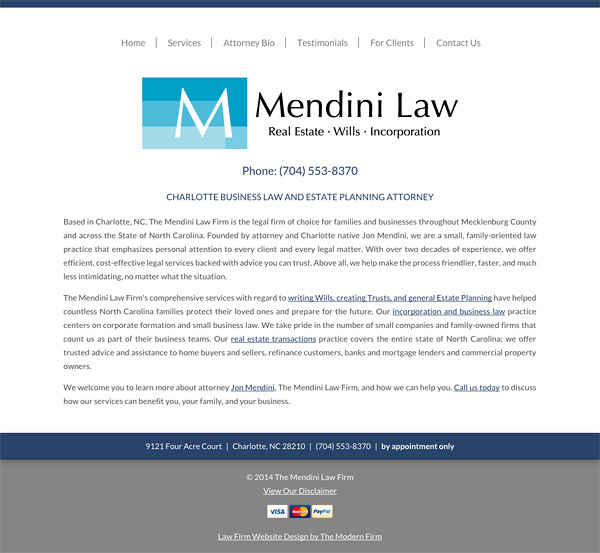 Law Firm Website Design for The Mendini Law Firm