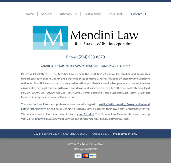 Mobile Friendly Law Firm Webiste for The Mendini Law Firm