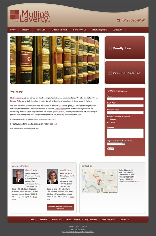 Law Firm Website Design for Mullin & Laverty, LC