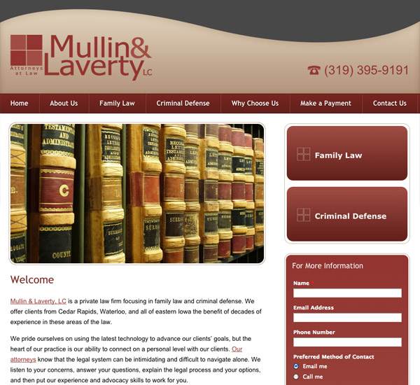 Mobile Friendly Law Firm Webiste for Mullin & Laverty, LC