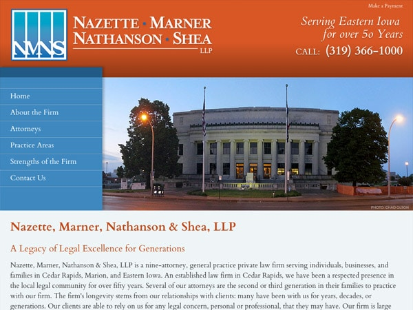 Mobile Friendly Law Firm Webiste for Nazette, Marner, Nathanson & Shea, LLP