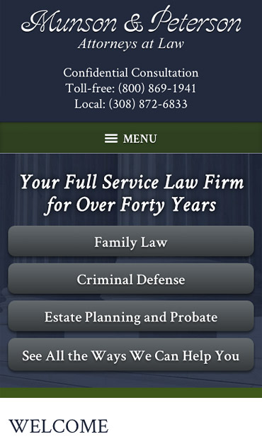 Responsive Mobile Attorney Website for Munson & Peterson