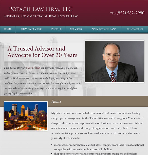 Mobile Friendly Law Firm Webiste for Potach Law Firm, LLC