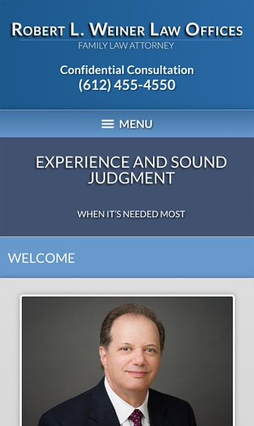 Responsive Mobile Attorney Website for Robert L. Weiner Law Offices