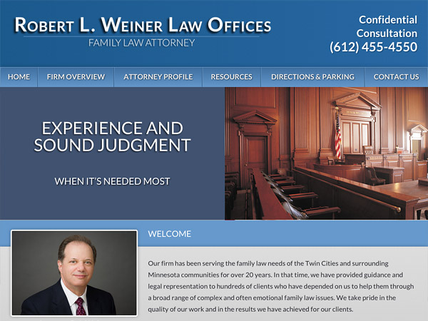 Mobile Friendly Law Firm Webiste for Robert L. Weiner Law Offices