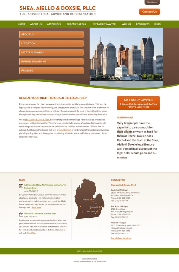 Law Firm Website for Shea, Aiello & Doxsie, PLLC
