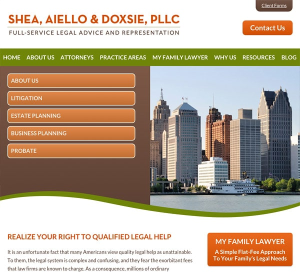 Mobile Friendly Law Firm Webiste for Shea, Aiello & Doxsie, PLLC