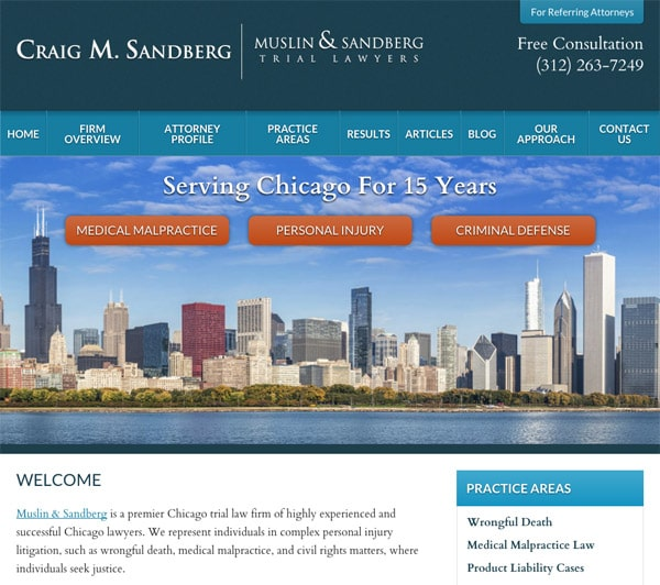 Mobile Friendly Law Firm Webiste for Craig M. Sandberg - Muslin & Sandberg