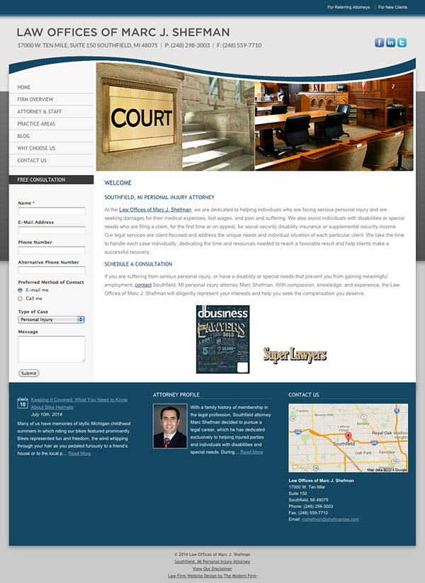 Law Firm Website for Law Offices of Marc J. Shefman