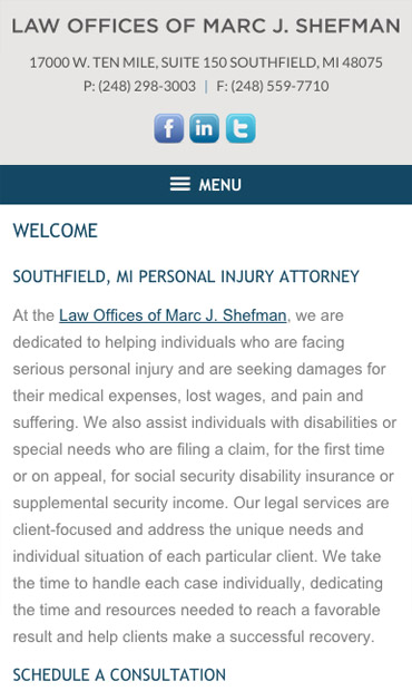 Responsive Mobile Attorney Website for Law Offices of Marc J. Shefman