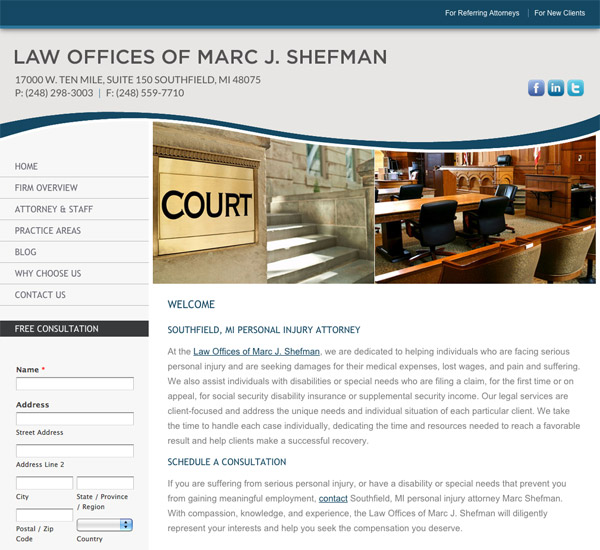 Mobile Friendly Law Firm Webiste for Law Offices of Marc J. Shefman
