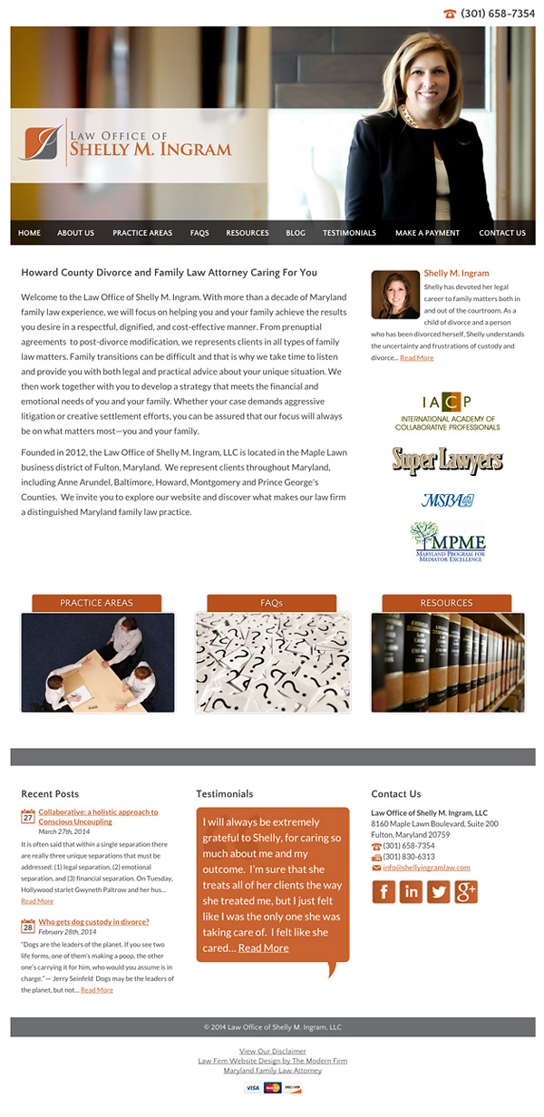 Law Firm Website Design for Law Office of Shelly M. Ingram, LLC