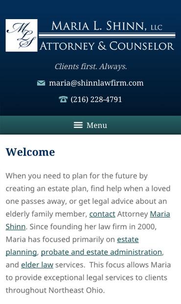 Responsive Mobile Attorney Website for Maria L. Shinn, LLC