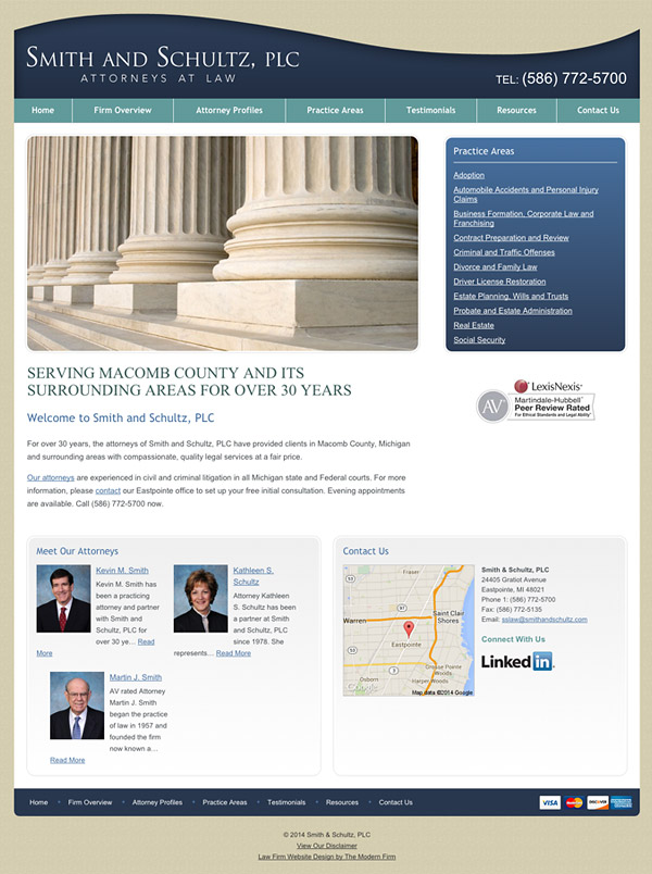 Law Firm Website Design for Smith & Schultz, PLC