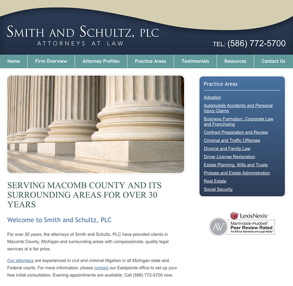Mobile Friendly Law Firm Webiste for Smith & Schultz, PLC