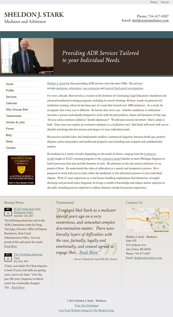 Law Firm Website Design for Sheldon J. Stark - Mediator