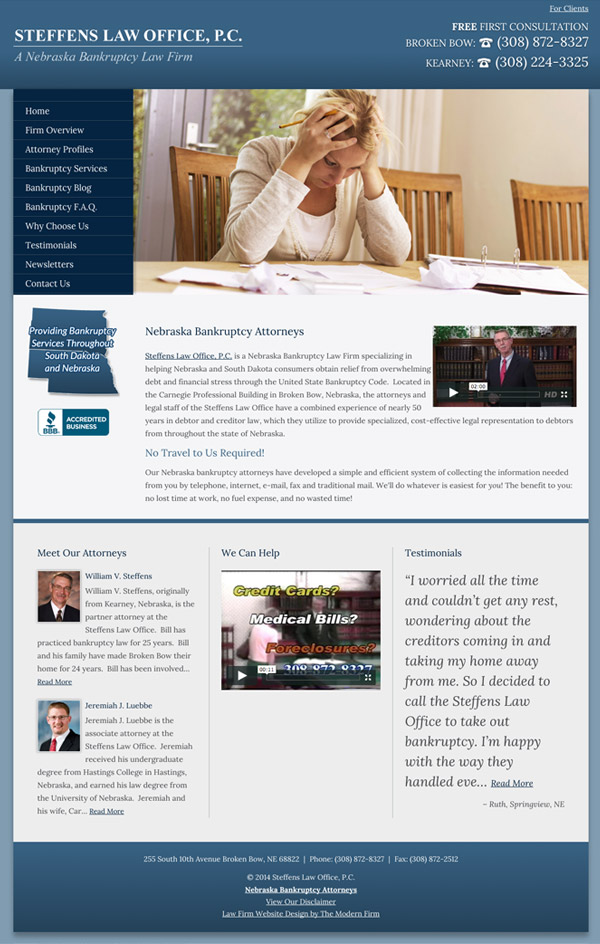 Law Firm Website for Steffens Law Office, P.C.