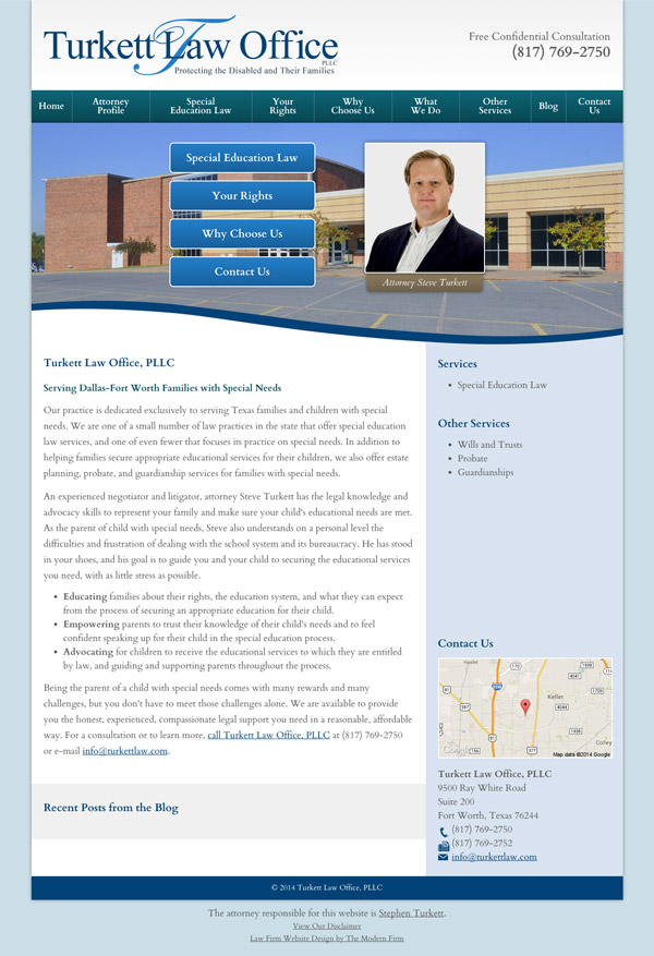 Law Firm Website Design for Turkett Law Office, PLLC