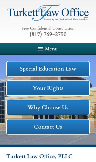 Responsive Mobile Attorney Website for Turkett Law Office, PLLC