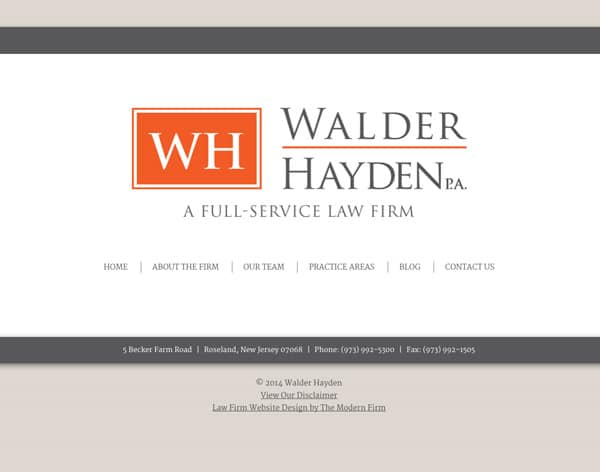Law Firm Website Design for Walder Hayden, P.A.