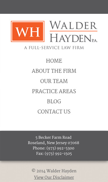 Responsive Mobile Attorney Website for Walder Hayden, P.A.