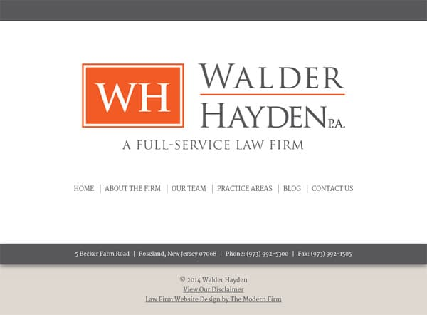 Mobile Friendly Law Firm Webiste for Walder Hayden, P.A.