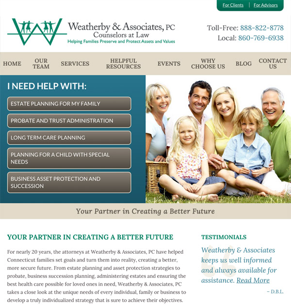 Mobile Friendly Law Firm Webiste for Weatherby & Associates, PC