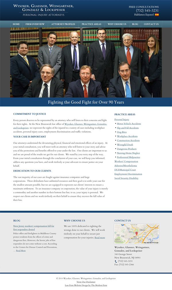 Law Firm Website Design for Wysoker, Glassner, Weingartner, Gonzalez, and Lockspeiser
