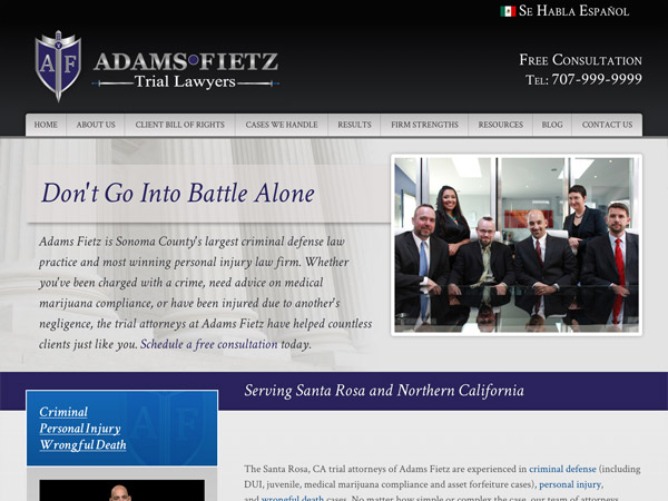 Mobile Friendly Law Firm Webiste for Adams Fietz