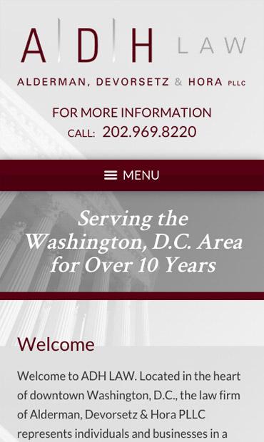 Responsive Mobile Attorney Website for Alderman, Devorsetz & Hora PLLC
