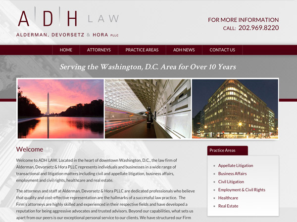 Mobile Friendly Law Firm Webiste for Alderman, Devorsetz & Hora PLLC