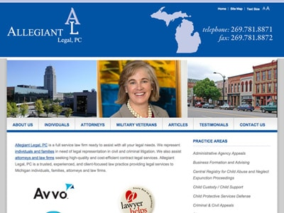 Law Firm Website design for Allegiant Legal, PC