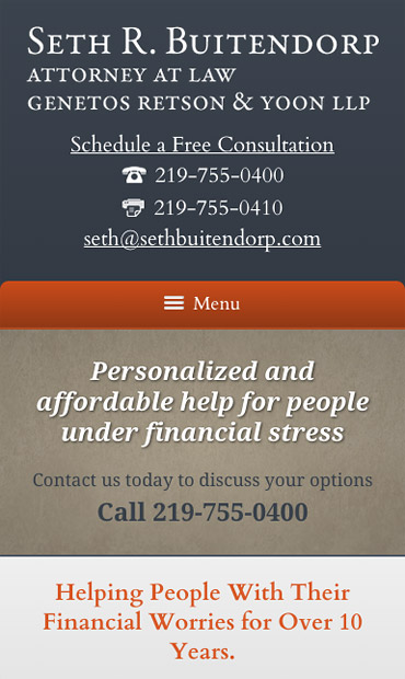 Responsive Mobile Attorney Website for Seth R. Buitendorp, Attorney at Law