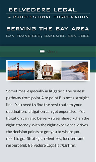 Responsive Mobile Attorney Website for Belvedere Legal, A Professional Corporation