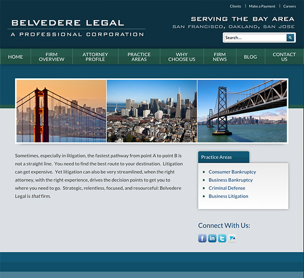 Mobile Friendly Law Firm Webiste for Belvedere Legal, A Professional Corporation