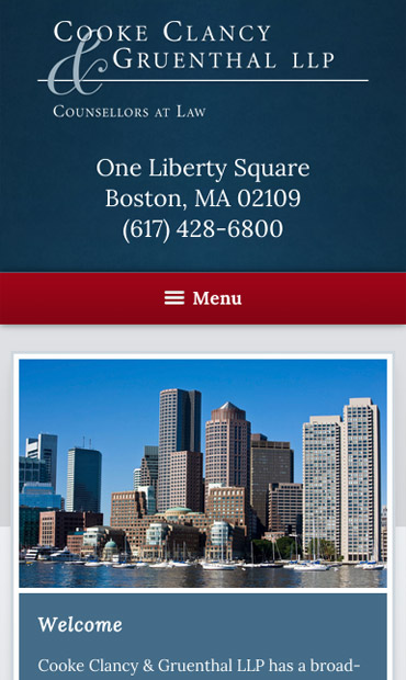 Responsive Mobile Attorney Website for Cooke Clancy & Gruenthal, LLP