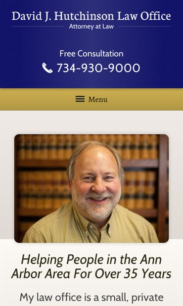 Responsive Mobile Attorney Website for David J. Hutchinson