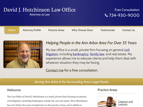 Mobile Friendly Law Firm Webiste for David J. Hutchinson