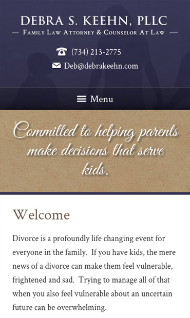Responsive Mobile Attorney Website for Debra S. Keehn, PLLC