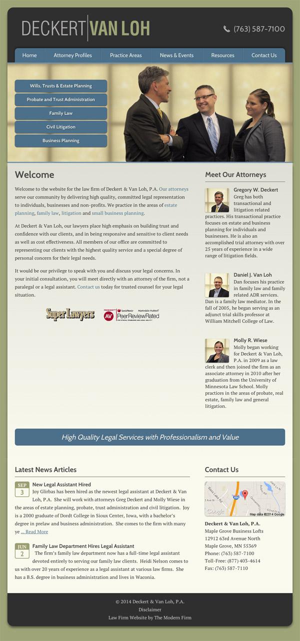 Law Firm Website Design for Deckert & Van Loh, P.A.