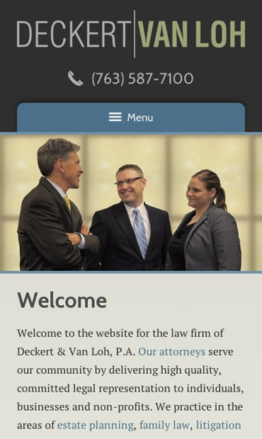 Responsive Mobile Attorney Website for Deckert & Van Loh, P.A.