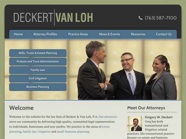 Mobile Friendly Law Firm Webiste for Deckert & Van Loh, P.A.