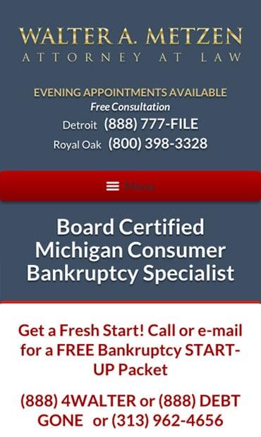 Responsive Mobile Attorney Website for Law Offices of Walter Metzen & Associates